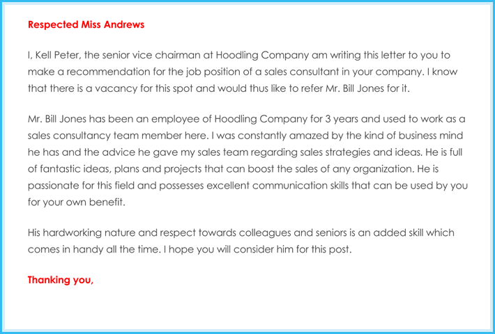 Business recommendation Letter for Sales Consultant