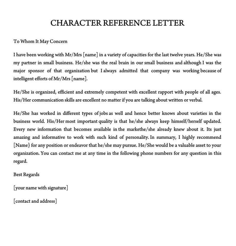 Good Character Reference Letter from www.wordtemplatesonline.net