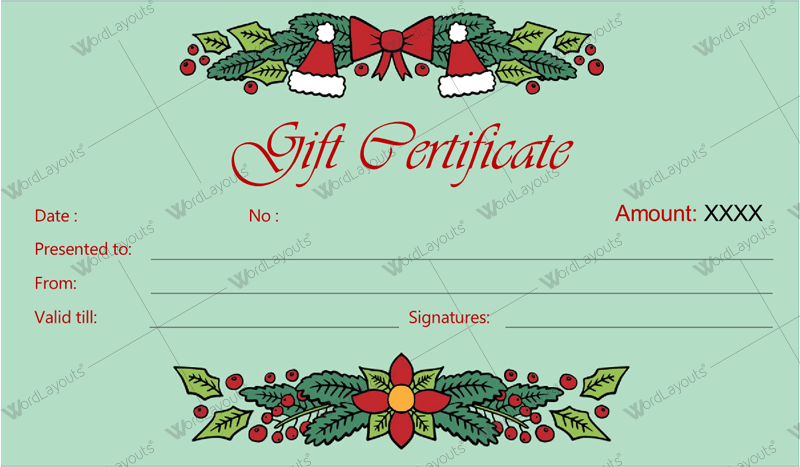 12 beautiful christmas gift certificate templates for word for Certificate templates for word free downloads