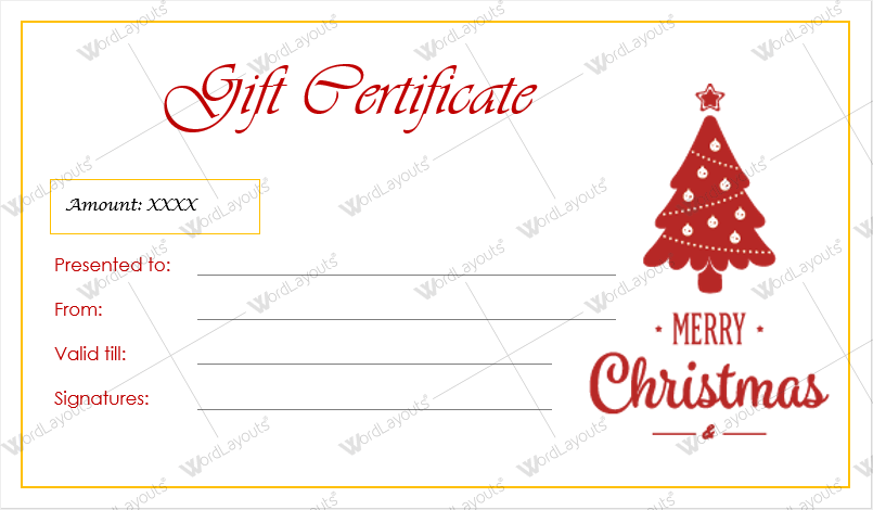 christmas gift certificate templates for word editable printable. Black Bedroom Furniture Sets. Home Design Ideas