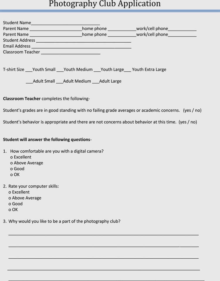 club membership application  registration form templates  with free examples