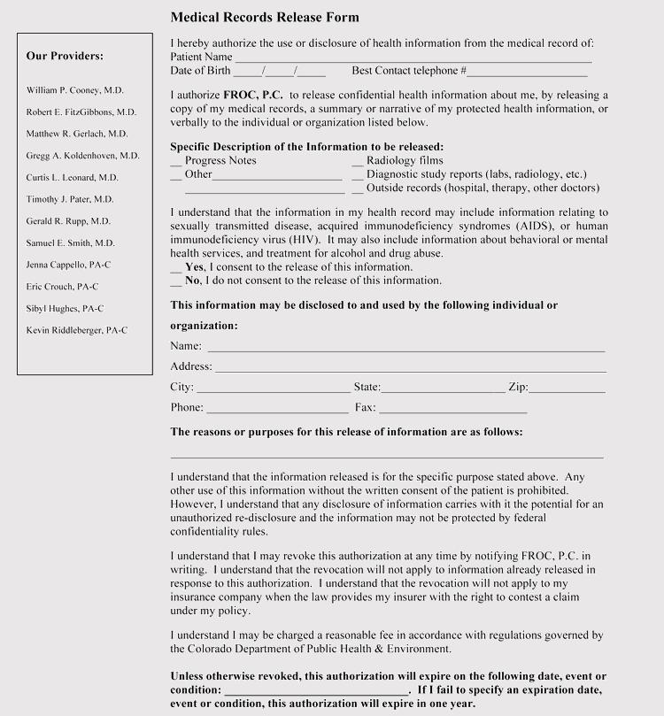 Colorado Medical Release Form Sample
