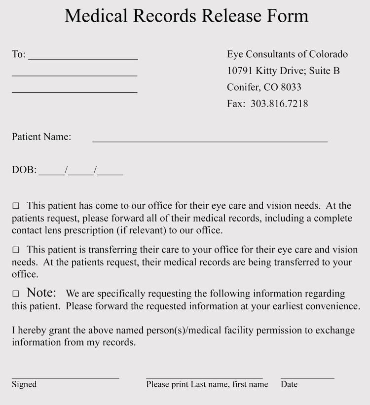 Colorado Medical Release Form Free Download