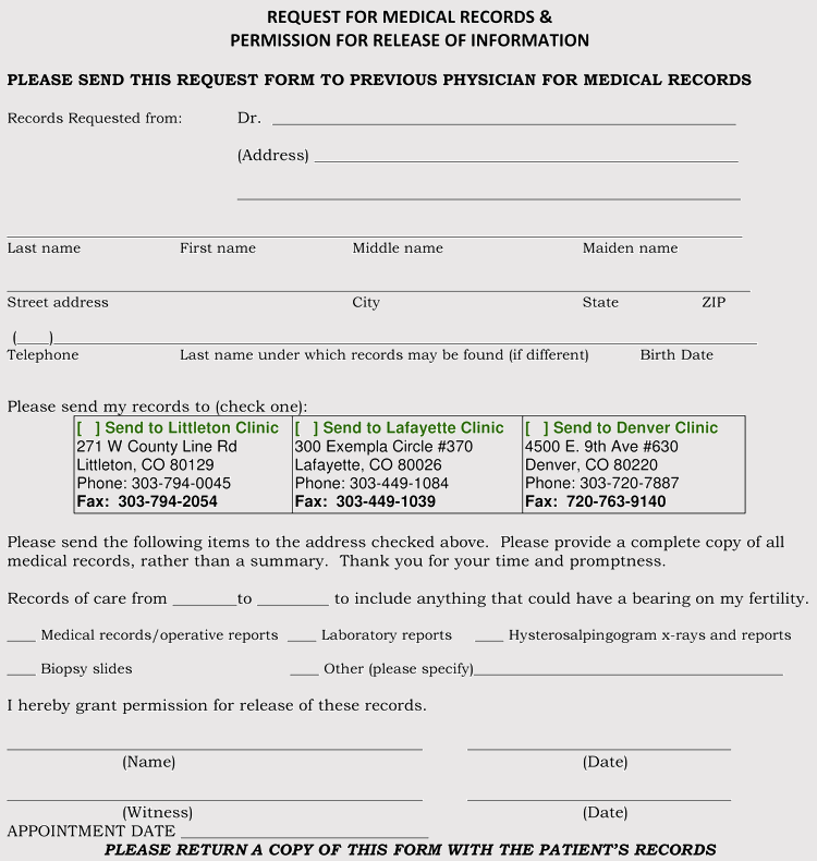 Colorado Medical Permission For Release Form Sample