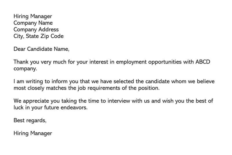 Interview Candidate Rejection Letter from www.wordtemplatesonline.net