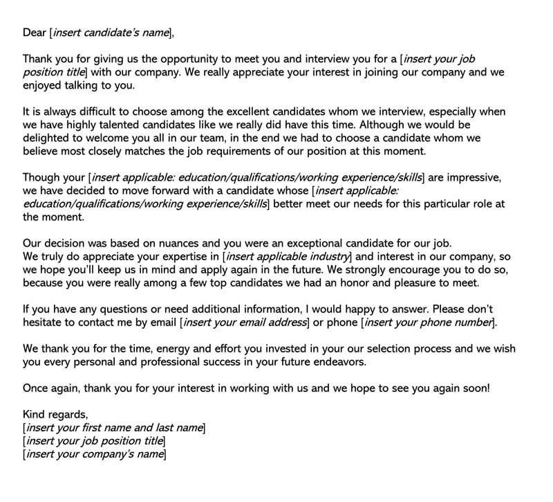 common job rejection letter template