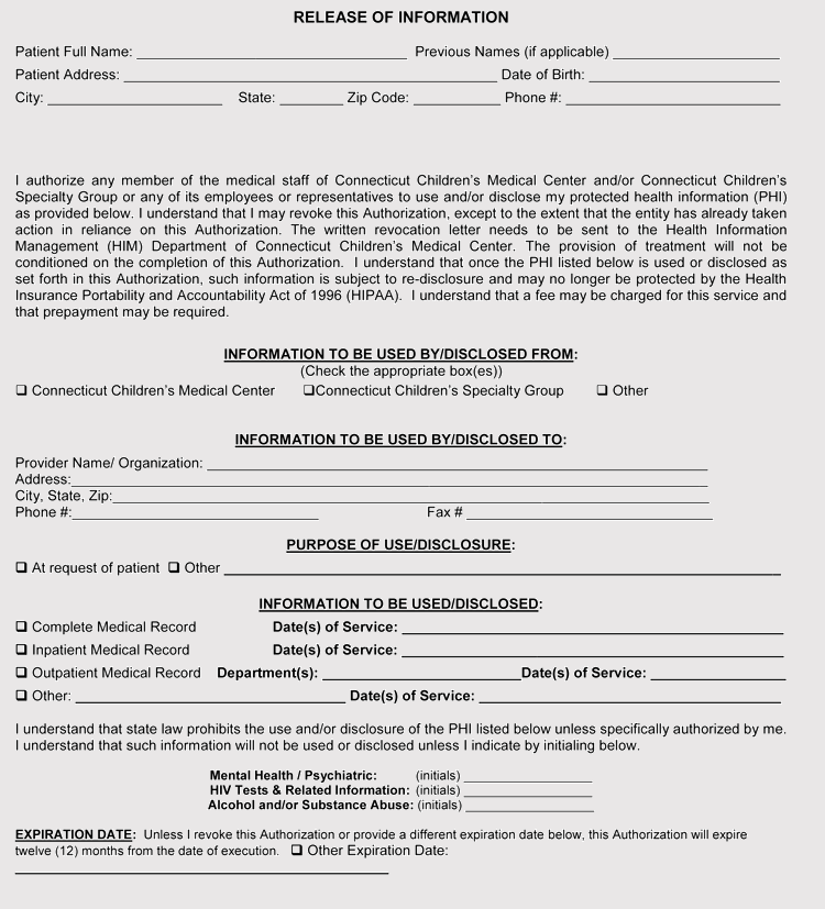 Sample of Connecticut Medical Release of Information