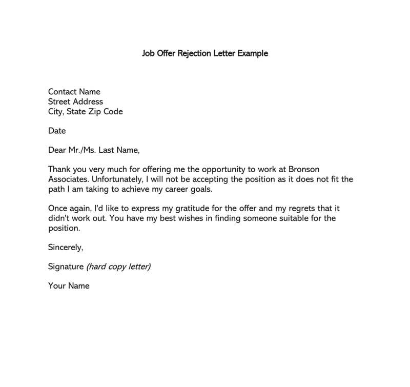 formal rejection letter to decline job offer  sample