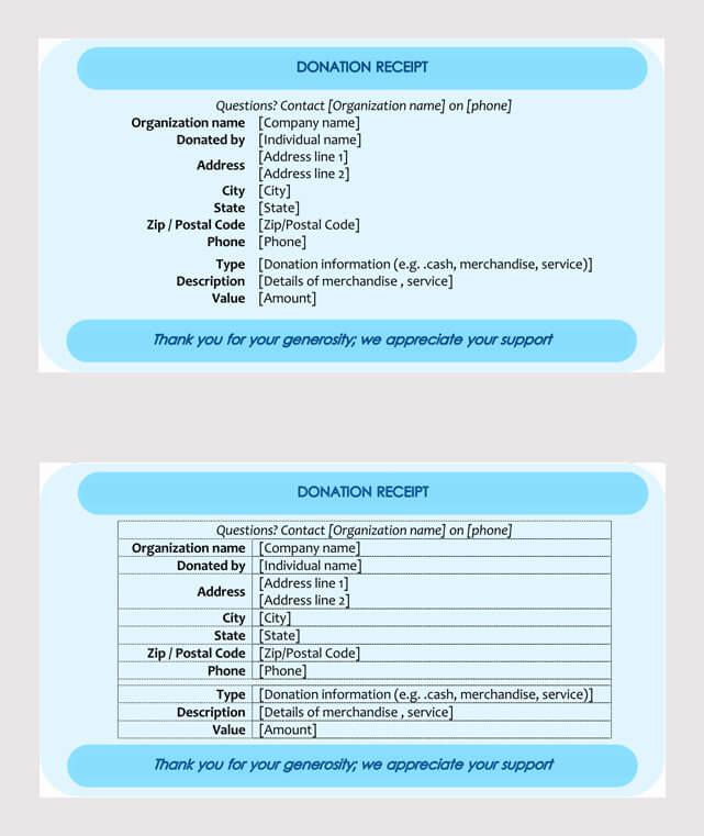 Donation Receipt Format in word