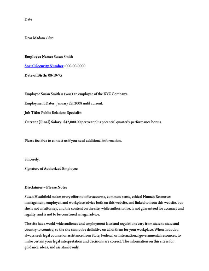 employment verification letter pdf