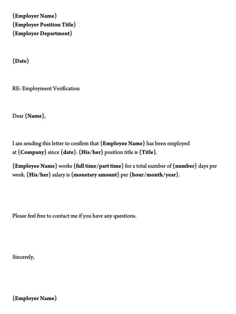 employment verification letter  40  sample letters and