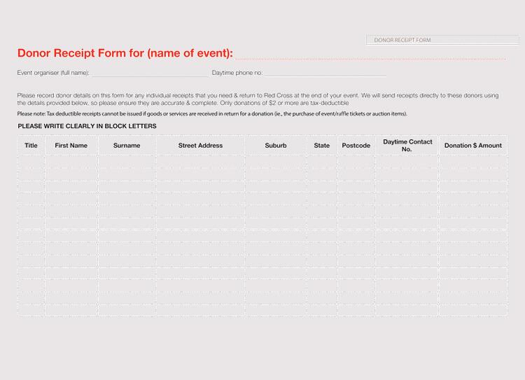 event donation receipt template