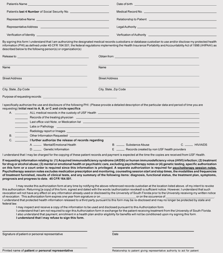 Printable Medical Records Release Form