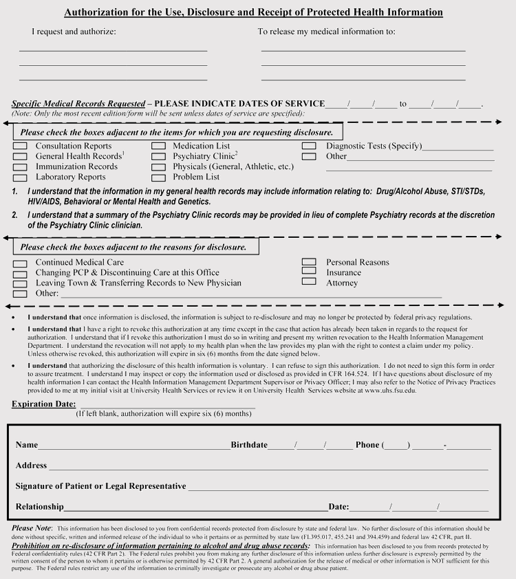 Florida Medical Records Release Form PDF