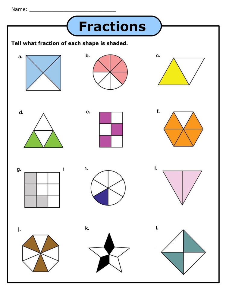 Free Fraction Worksheets