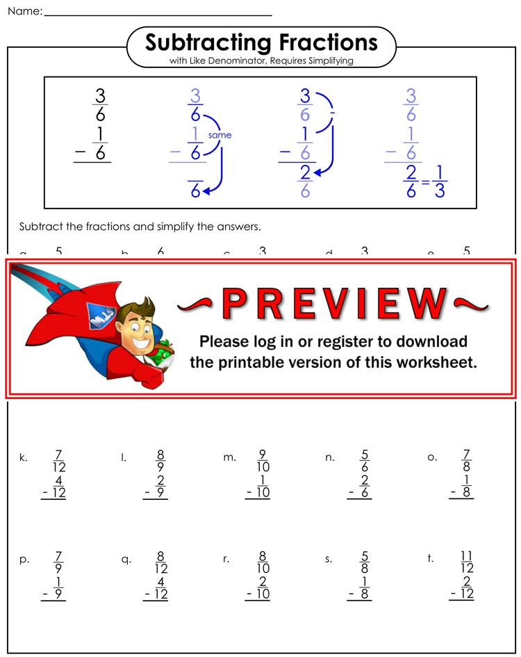 Subtracting Fractions Worksheets Pdf