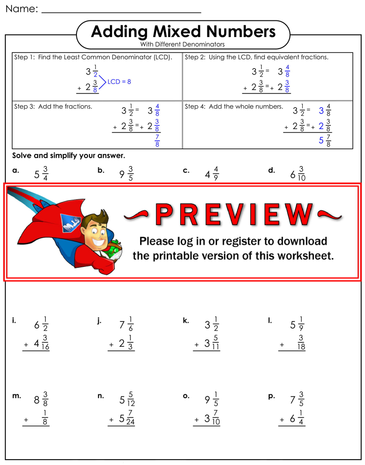 Free Adding Fractions Worksheets