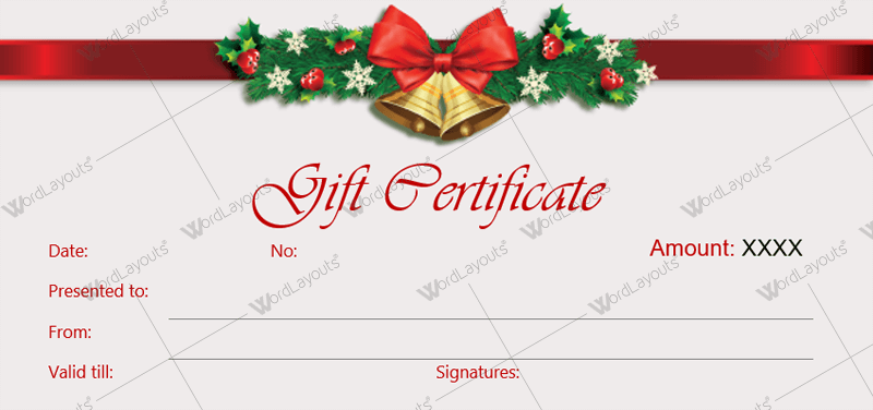 Christmas Gift Certificate Templates for Word Editable Printable – Christmas Gift Certificate Template Free