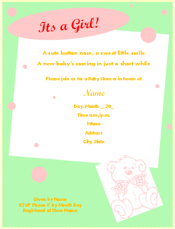 Baby Shower Invitation Card Template For Baby Girl :  Baby Shower Templates Word