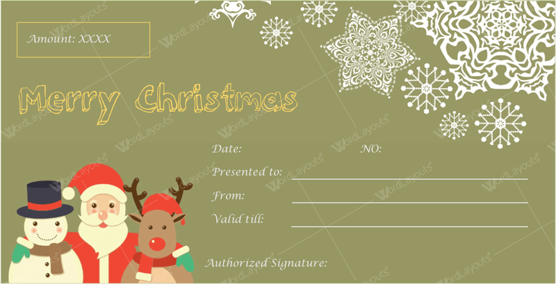 Templates For Microsoft® Word  Printable Christmas Gift Certificates Templates Free