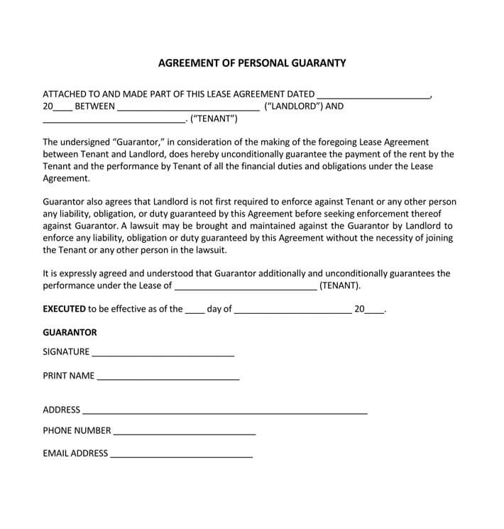 free real estate personal guarantee form