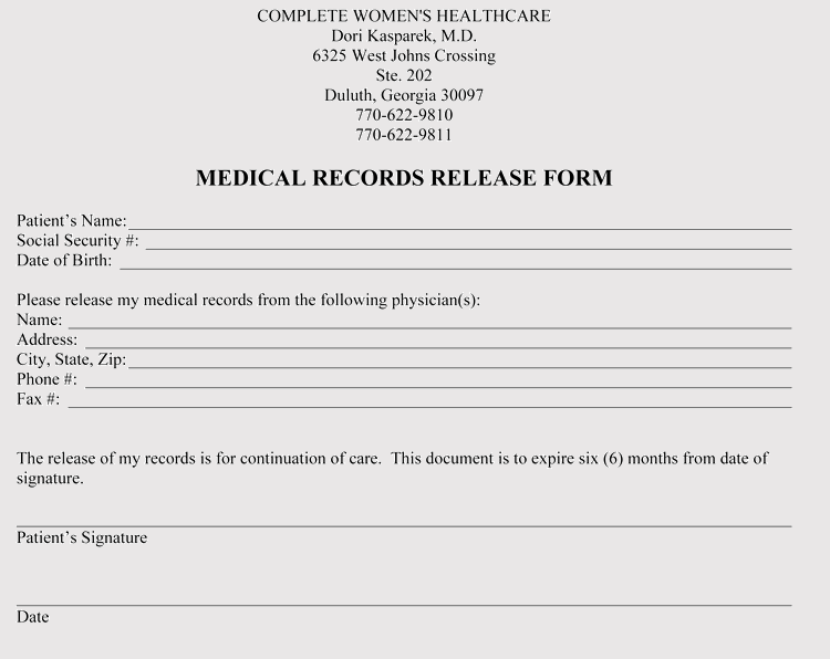 Printable Georgia Medical Release Form Sample