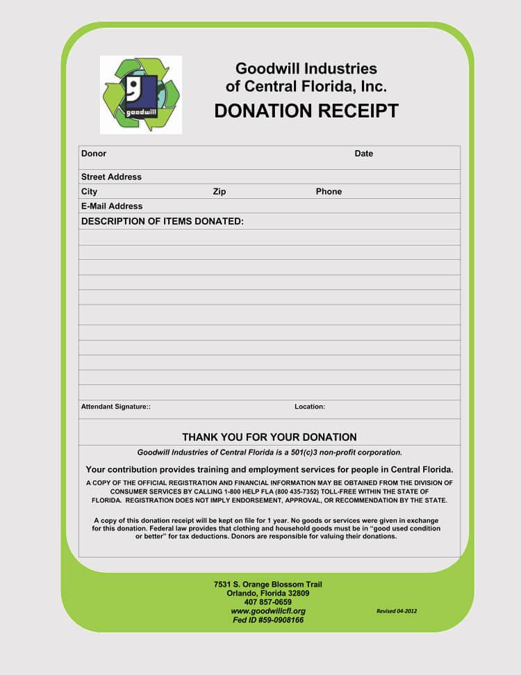 goods donation tax receipt Template
