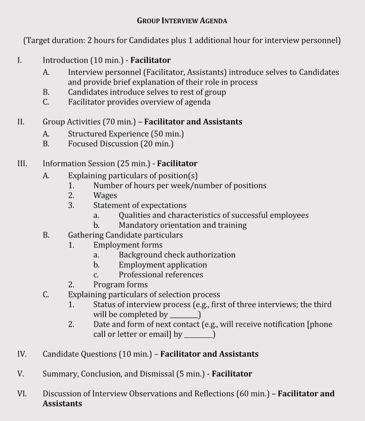 Interview Agenda Definition