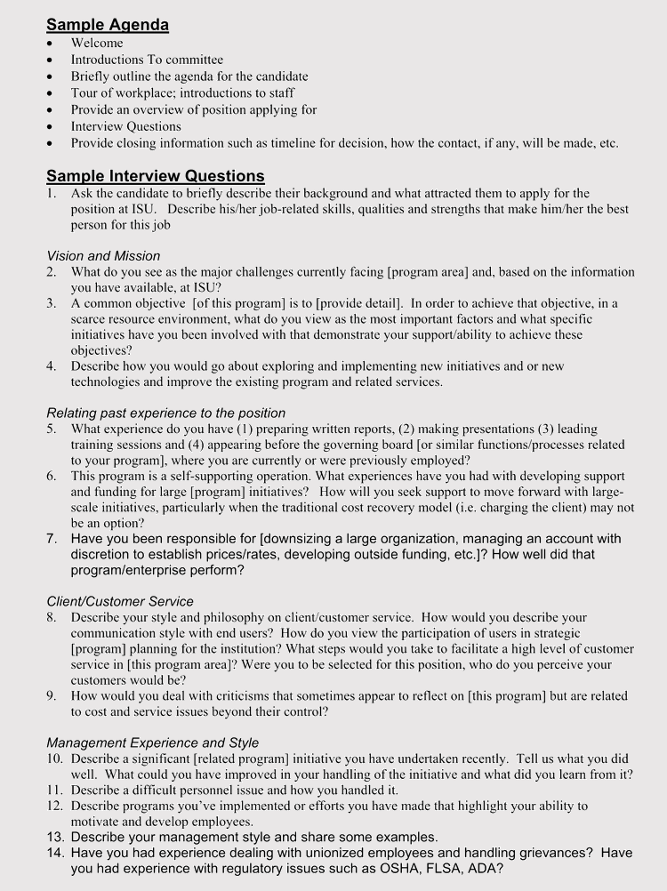 free interview agenda templates  hire the right person