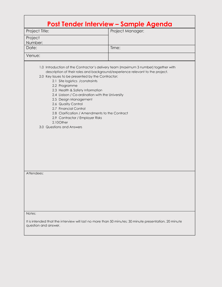 Job Interview Agenda Template