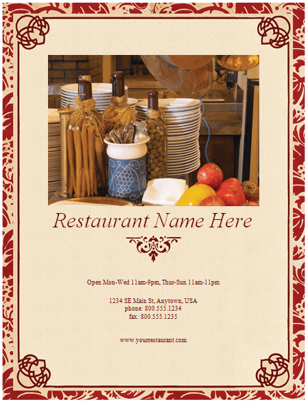 Italian Restaurant Menu Template :  Microsoft Word Restaurant Menu Template