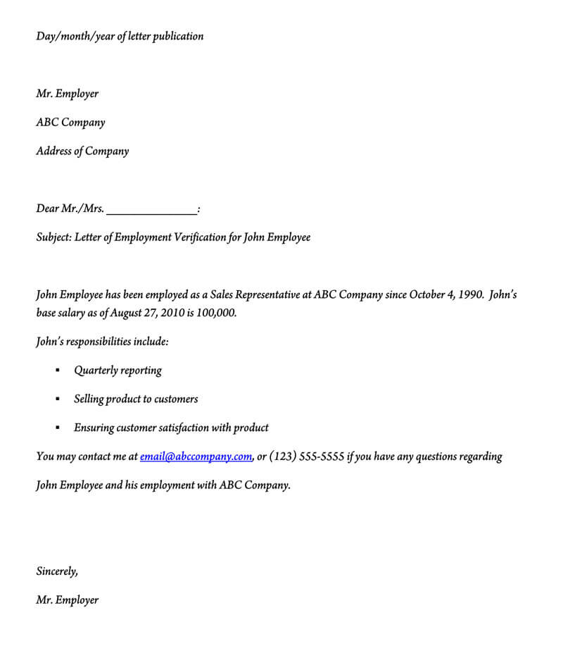 job verification letter sample