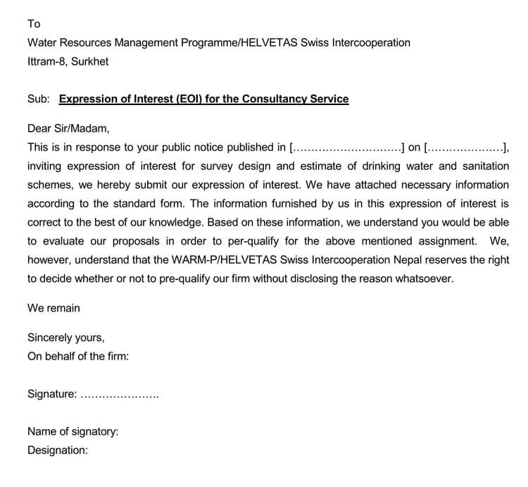 letter of interest for employment
