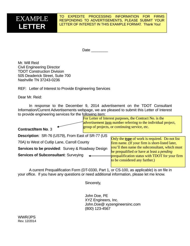 letter of interest for internal position