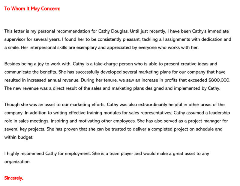Sample Letter Of Recommendation Employee from www.wordtemplatesonline.net