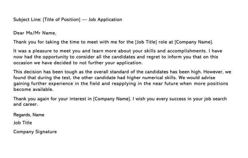 letter to unsuccessful applicant after interview