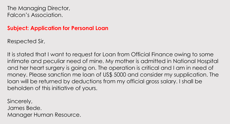personal loan application letter sample