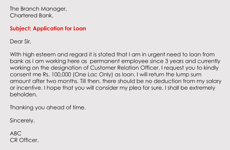 Application Loan Format Letter