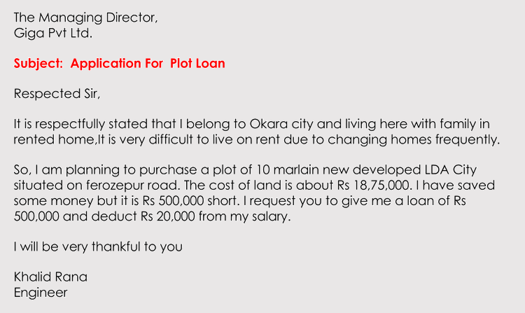 business loan application letter sample