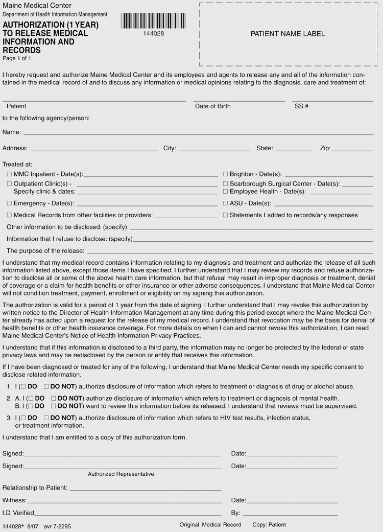 Authorization to Release Medical Information and Records Form