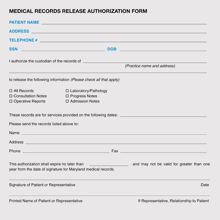 Maryland Medical Records Release Form Format