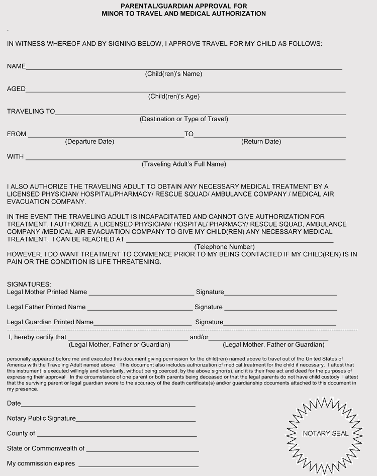 Child Medical Consent Form Notarized