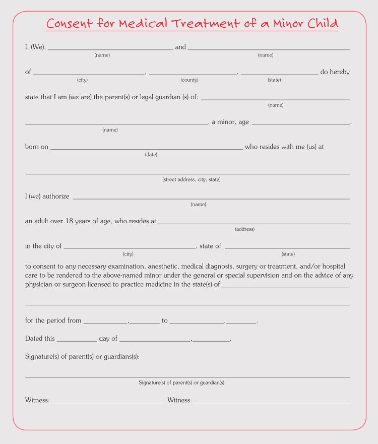 It is a photo of Epic Printable Medical Consent Form for Minor
