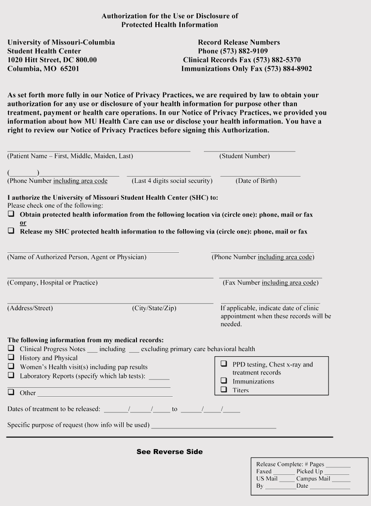 Printable Missouri Medical Record Release Form