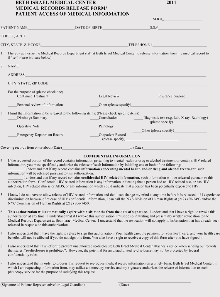 New York Medical Records Release Form Format