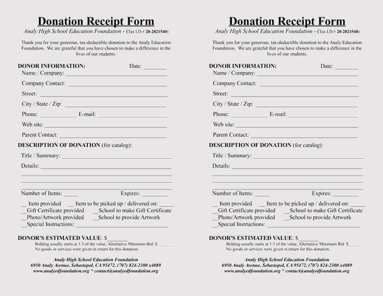 non cash donation receipt template