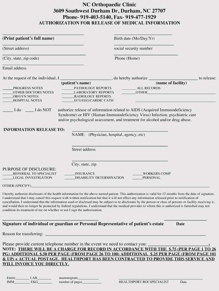 North Carolina Medical Records Release Form PDF