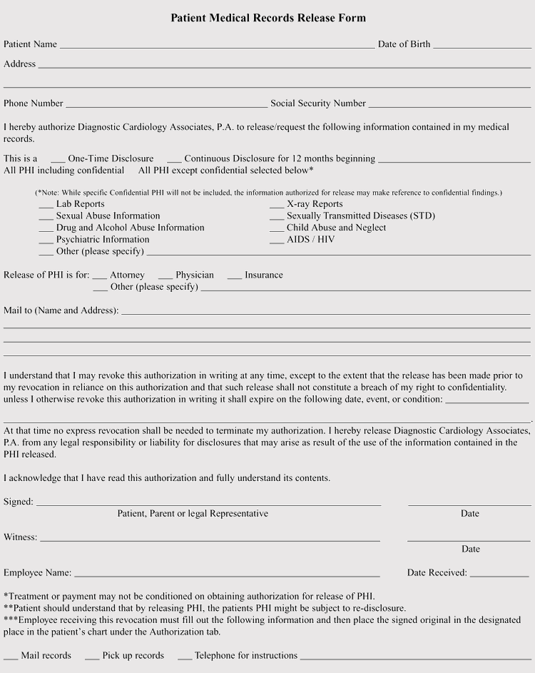Pennsylvania Medical Records Release Form Sample
