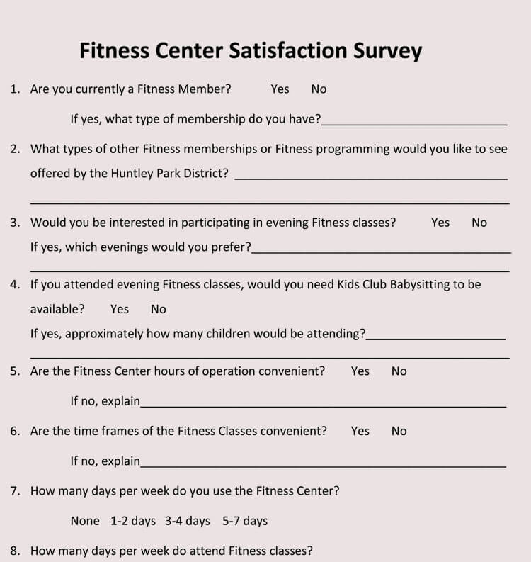 physical fitness questionnaire