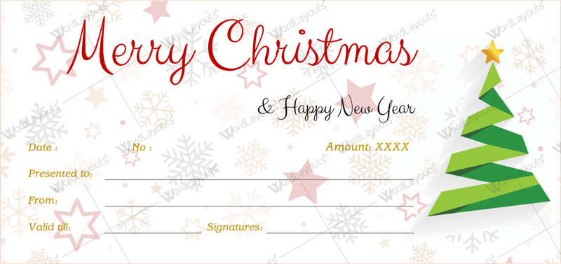 Christmas gift certificate templates for word editable for Printable gift certificate template